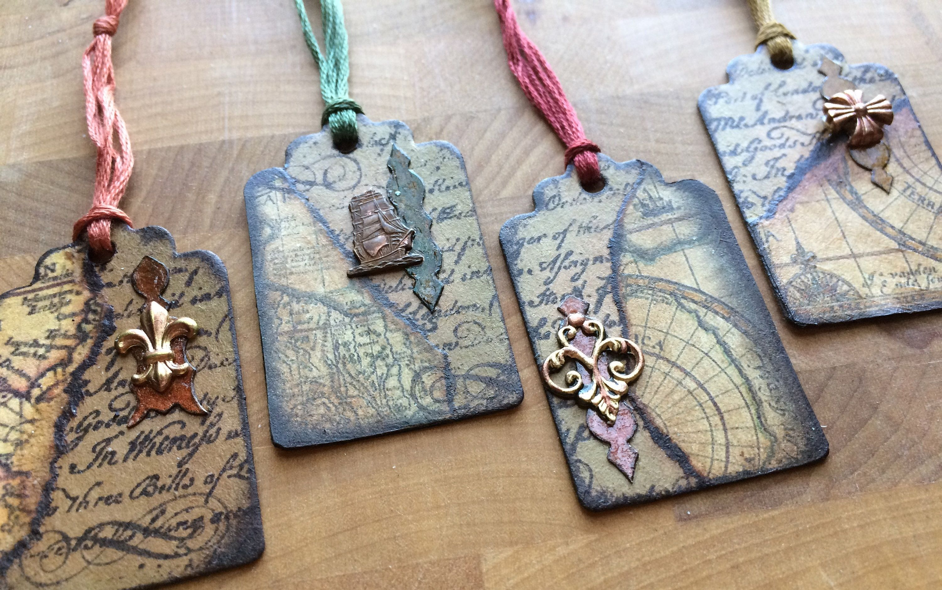 Mini gift tag set of 4 old world maps vintage travel embellished mini gift tag set of 4 old world maps vintage travel embellished mixed media by weelations gumiabroncs