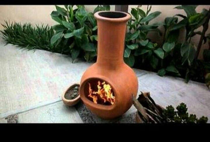 Chimenea De Barro Calentador Para Patio Cerámica Artesanal Chimeneas