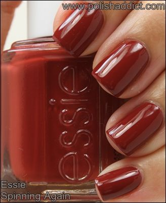 Essie Spinning Again Is A Dark Brick Red Creme Terracota Like Skin Nail