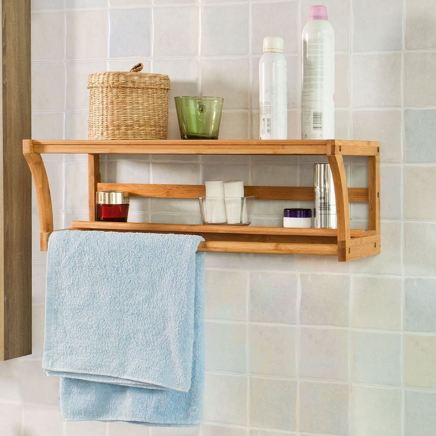 New Bamboo Wall Mounted Wood Shelf Rack Towel Rail Holder Bathroom Wood Shelves Towel Rack Wooden Towel Rail