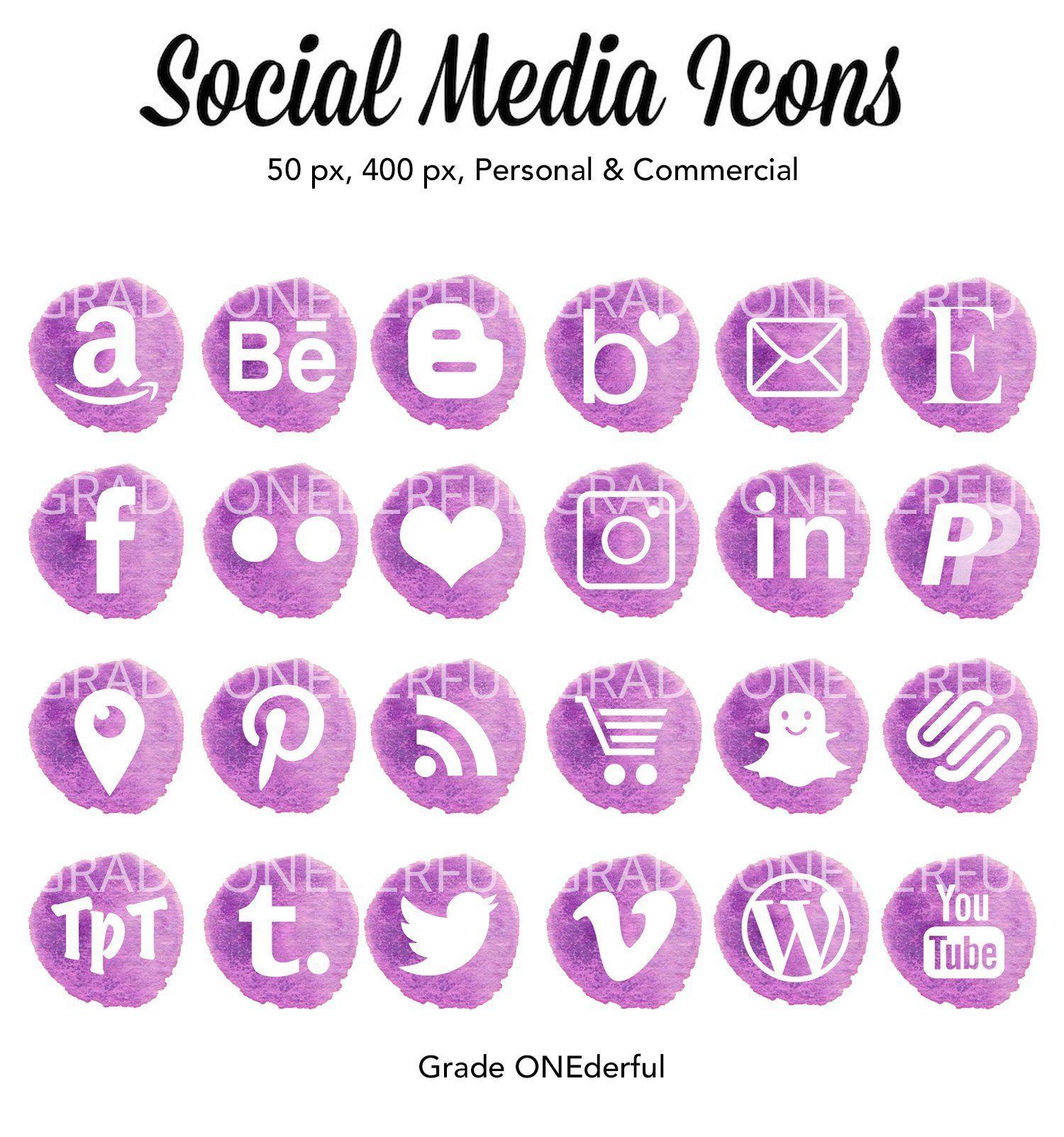 Social Media Icons, Watercolor Social Icons, Purple