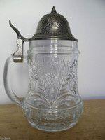 Just updated Vintage 1960's Clear Glass West German BMF Schnapskrugerl, Rein Zinn Stein $79.00