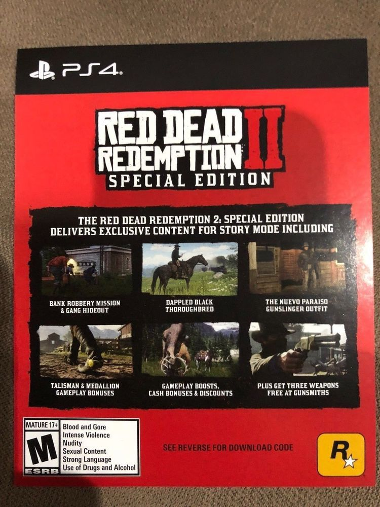 Red Dead Redemption II 2 Xbox One- SPECIAL EDITION CARD (Not