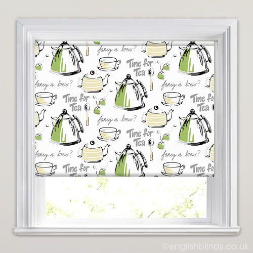 Lime Green Kitchen Blinds: Time For Tea Jasmine Roller Blinds