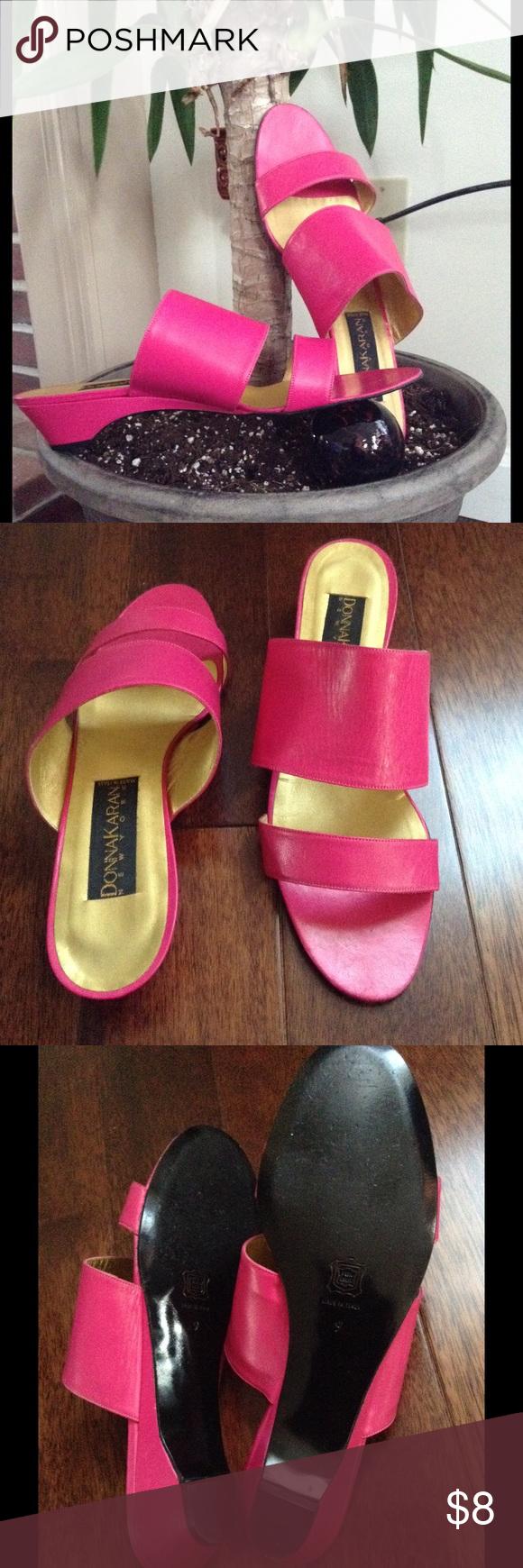 check out cb711 a8fd7 Donna Karan Italian Hot Pink Island Sandals Worn lightly ...