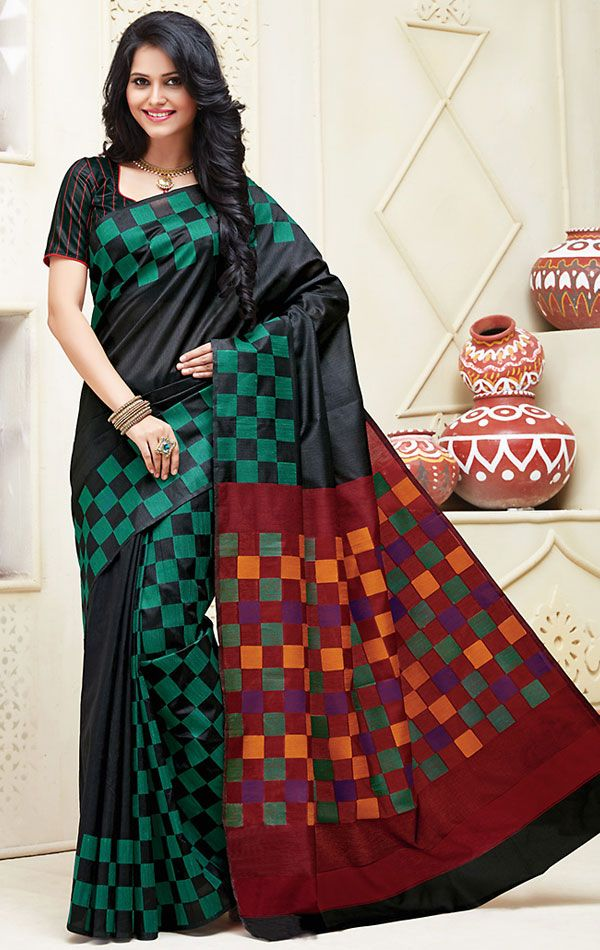 Show details for Alluring Black Cotton Saree