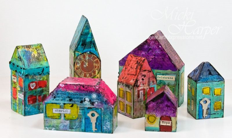 Altered wooden houses using left over Gelli prints