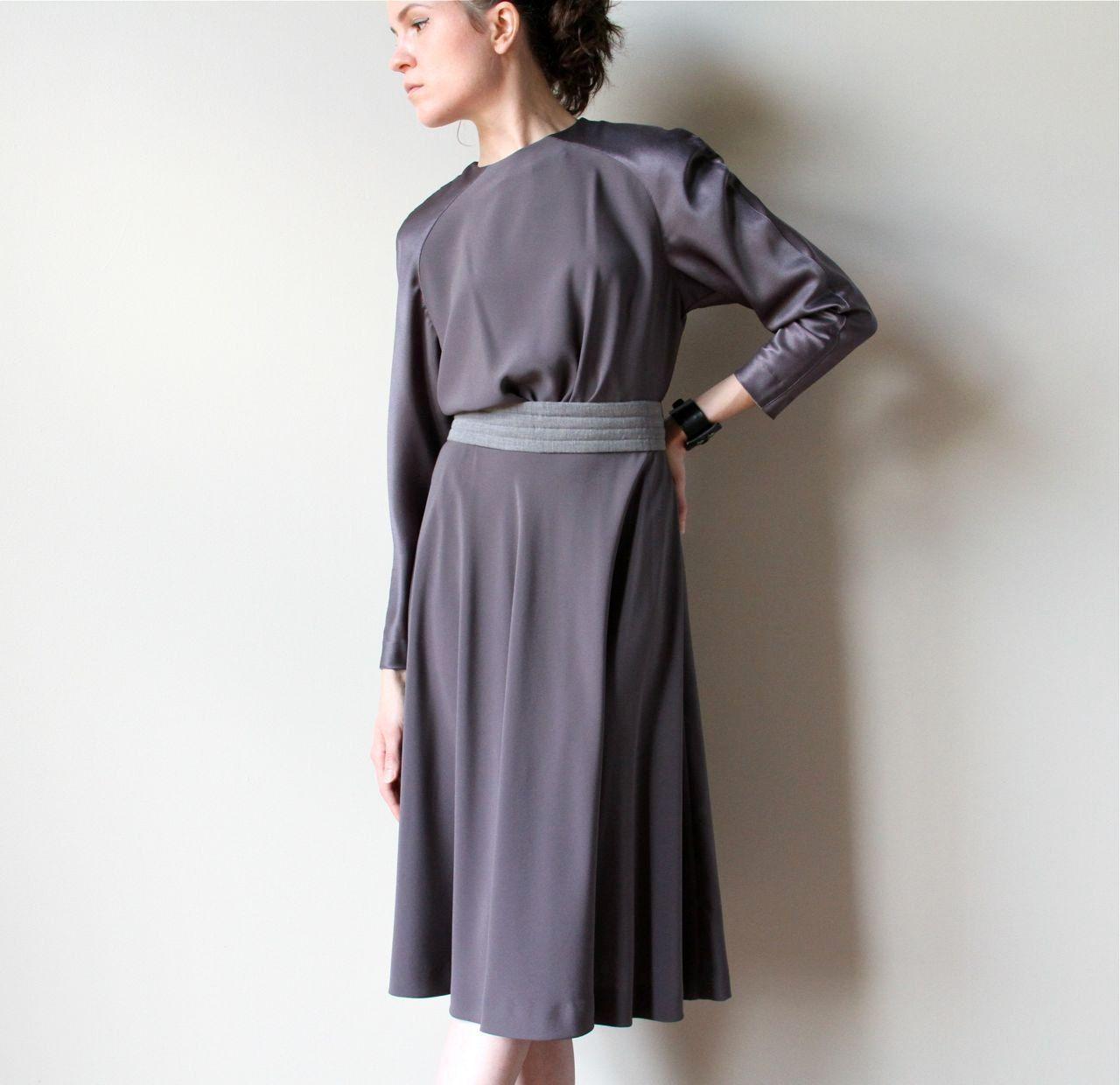 Dove Grey Minimalist Dress 80s 90s Designer Office Fashion Full Circle Skirt Slate Ash Smoke Monochrome Party Frock Minimalist Dresses Grey Silk Dress Dresses