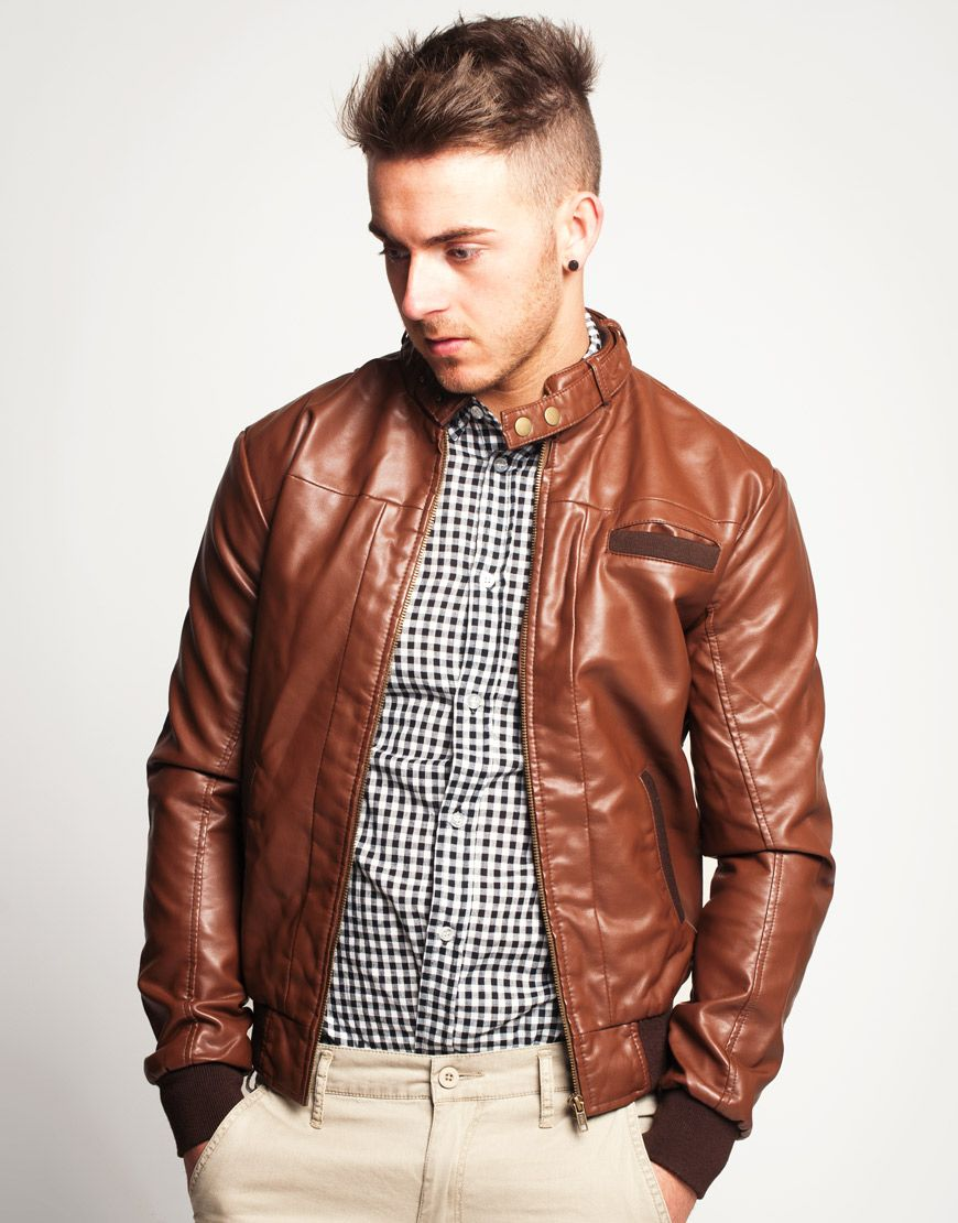 Men's Vintage Brown Faux Leather Bomber Jacket Faux