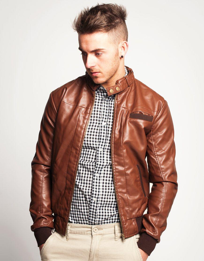 Men's Vintage Brown Faux Leather Bomber Jacket Faux