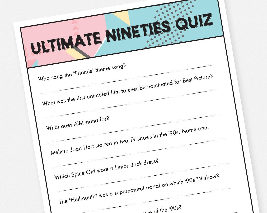 90s Trivia Quiz Printable Party Game Instant Download Bridal Trivia Quiz Friends Theme Song Trivia