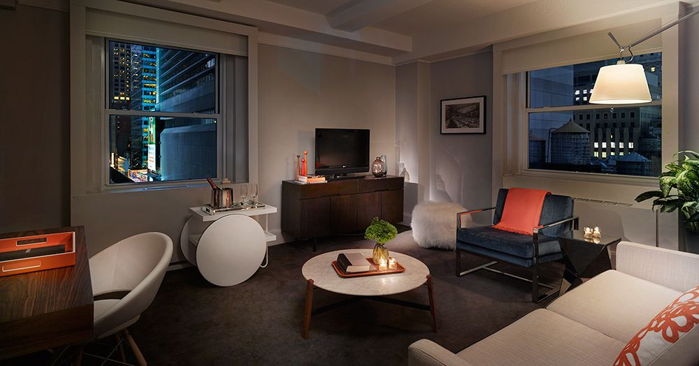 Paramount Hotel In New York City S Theater District Times Square One Bedroom Suite Hotel Inspired Bedroom 2 Bedroom Suites Bedroom Suite
