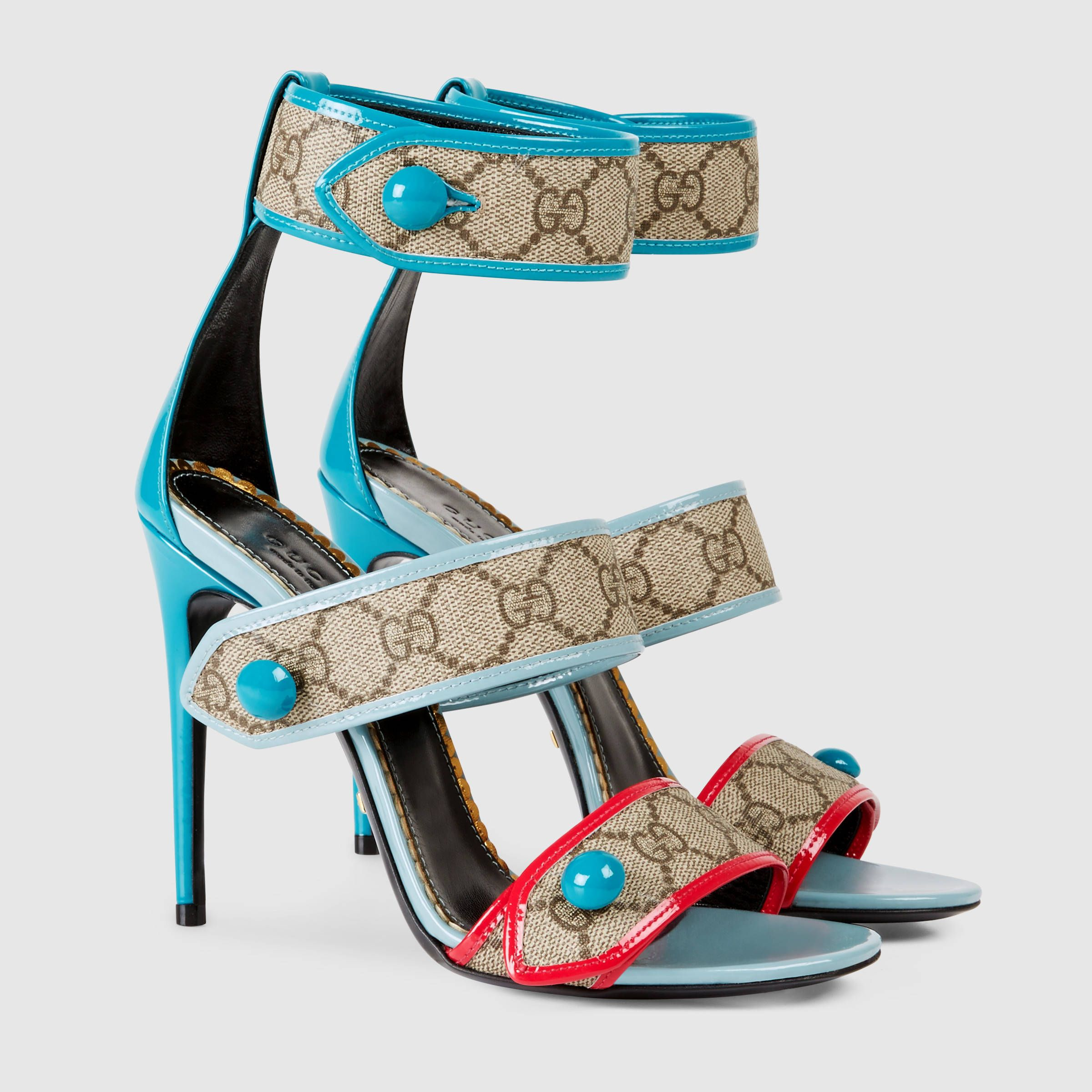 1eb2a7837 Gucci Women - Gucci GG Supreme Turquoise Canvas sandals - $795.00 ...