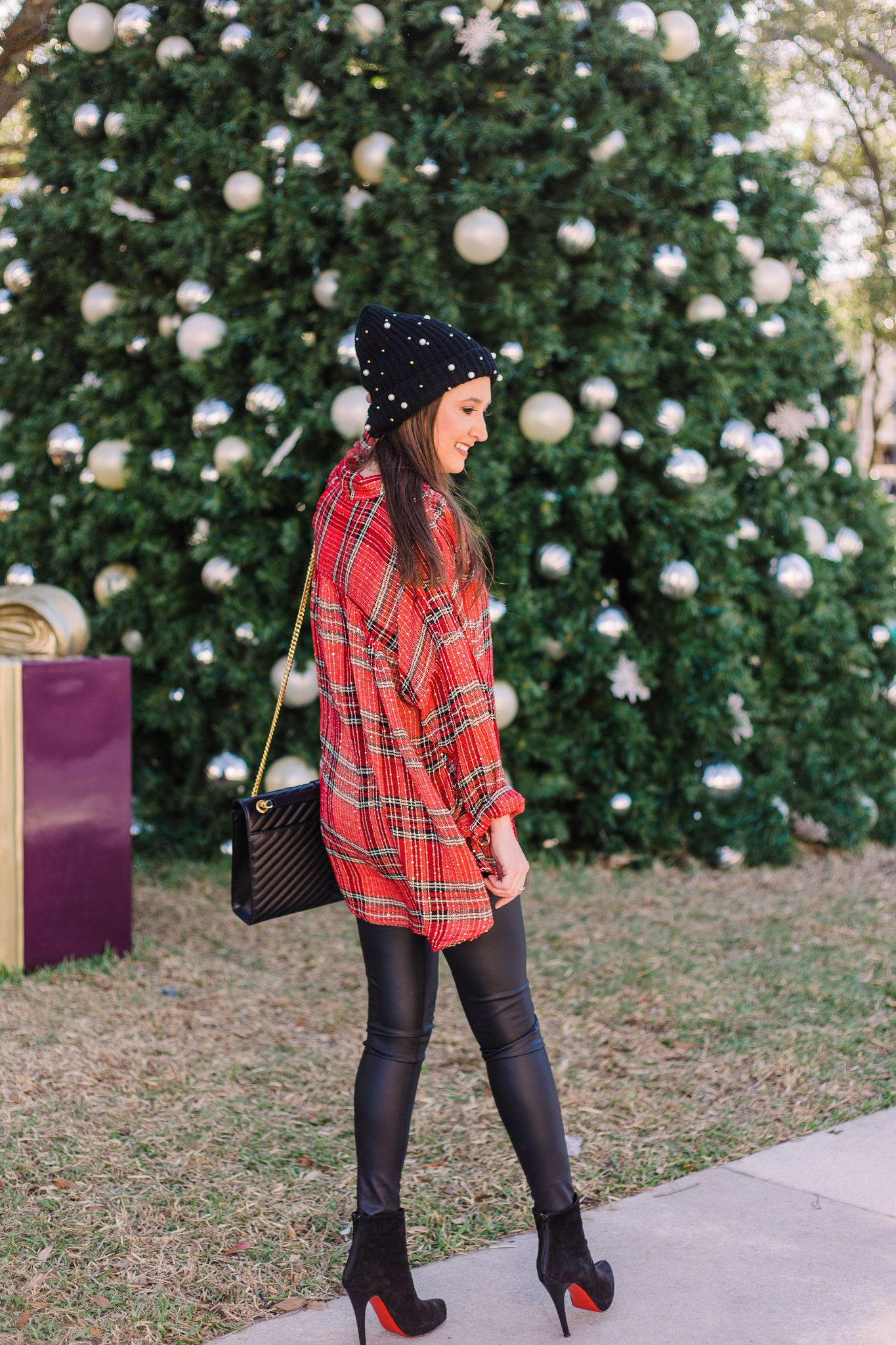 55ead464f85ef4 Free people plaid shirt for the Holidays, free people Fearless Love Bell  Sleeve Shirt, bp pearly stud beanie, faux leather leggings, ysl handbag, ...