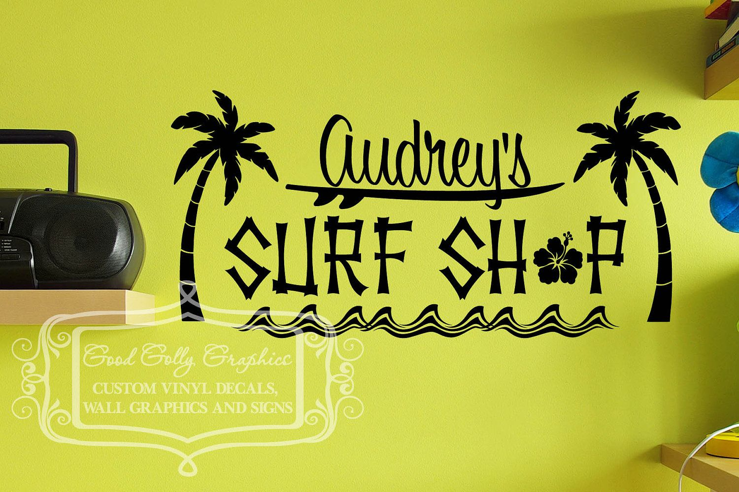 Surf shop vinyl wall decal with with palm trees waves and hibiscus ...