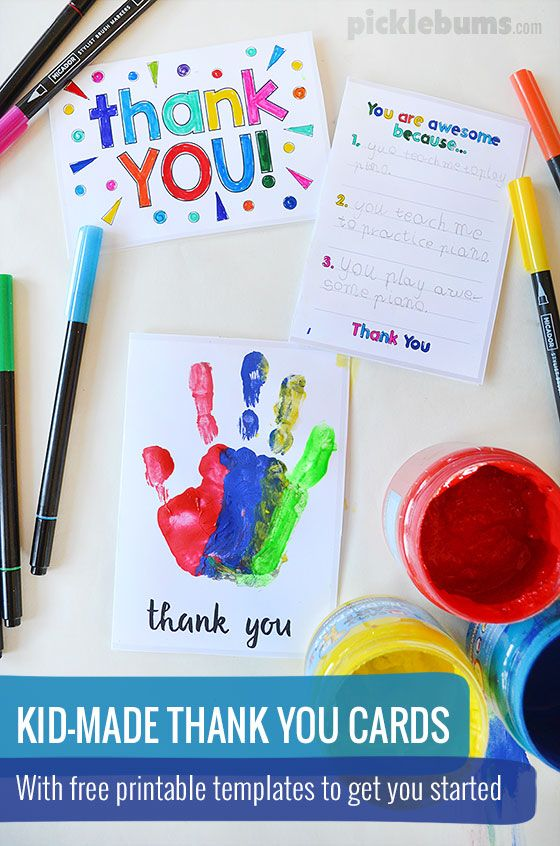 Printable Thank You Cards to Make With Your Kids Pinterest