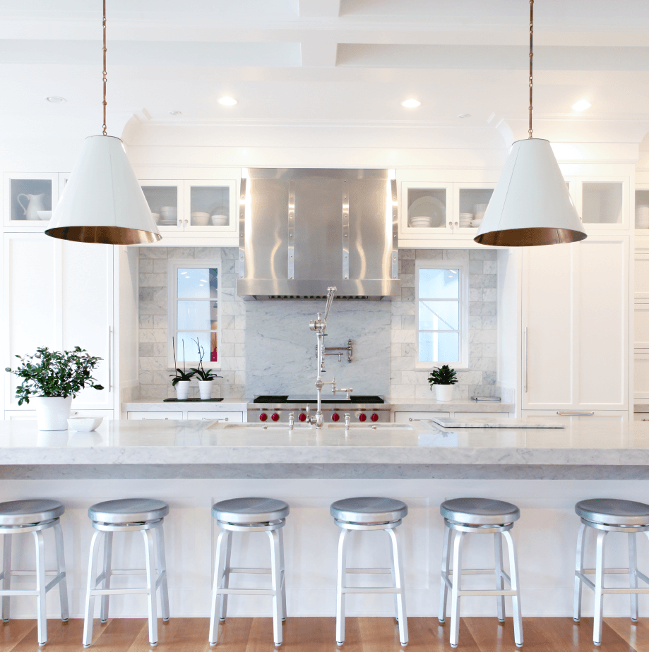 Symmetry And Light Come Together In Perfect Harmony In This Refreshing Kitchen The S Transitional Kitchen Design Kitchen With Long Island Open Concept Kitchen