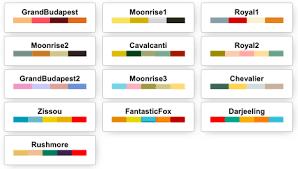 Resultado de imagen de palette wes anderson