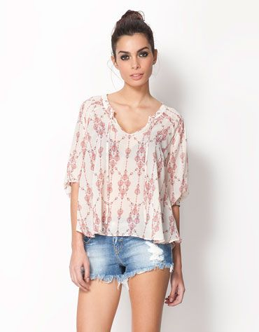 Bershka ethnic print blouse | Fashion | Pinterest | Ethno, Blusen ...