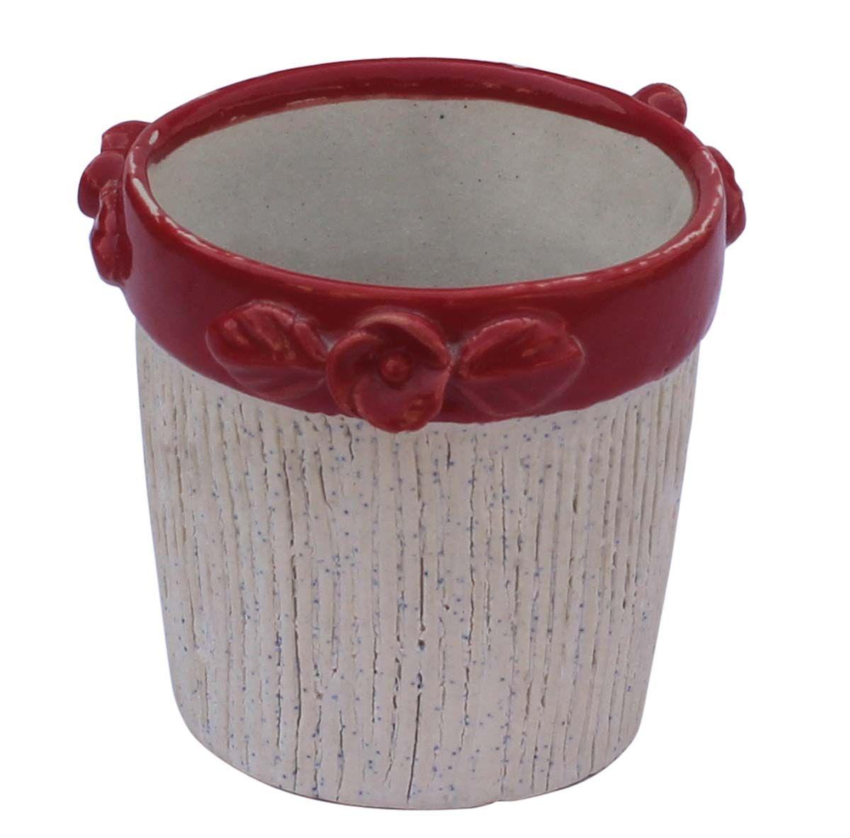 bulk wholesale ceramic planting pot - handmade white & red