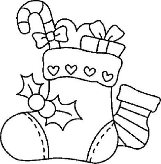 Bota de navideno con dulces para colorear dibujar recortar - Figuras navidenas para imprimir ...