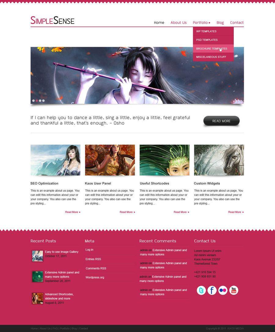 Simple Sense - free psd template | Free PSD Templates | Pinterest