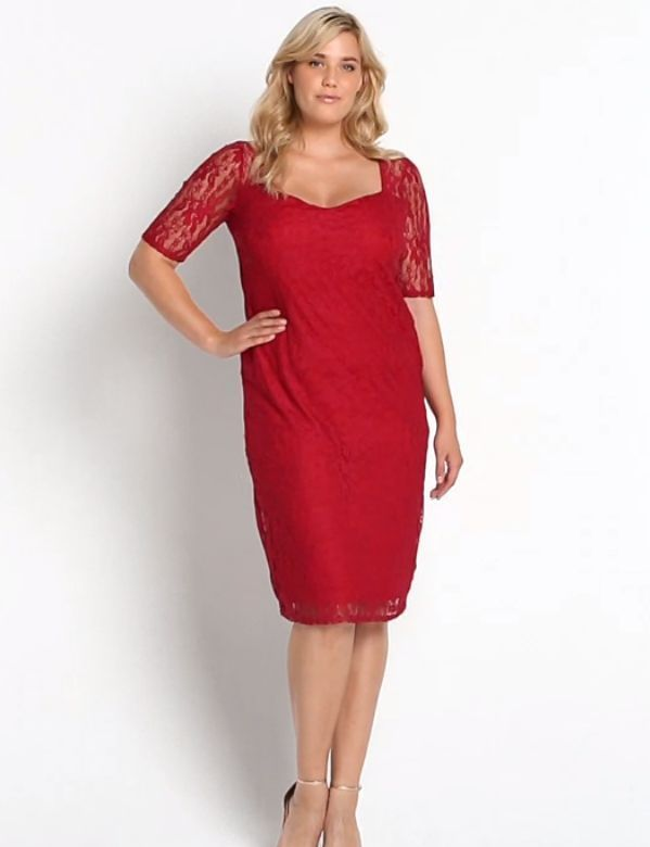 So Fabulous Sweetheart Neck Half Sleeve Lace Midi Dress Size