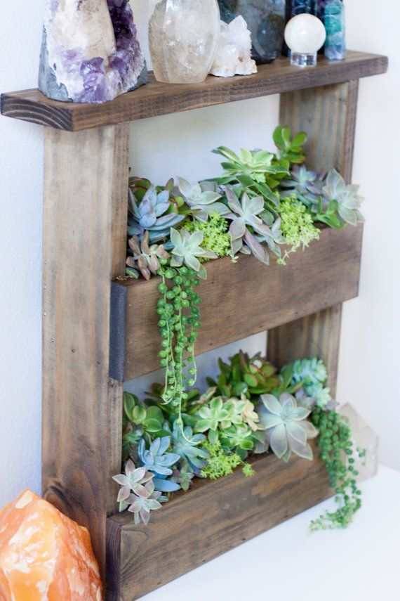Vertical Wall Planter Box Pallet Style Crystal Display Shelf Succulent Vertic