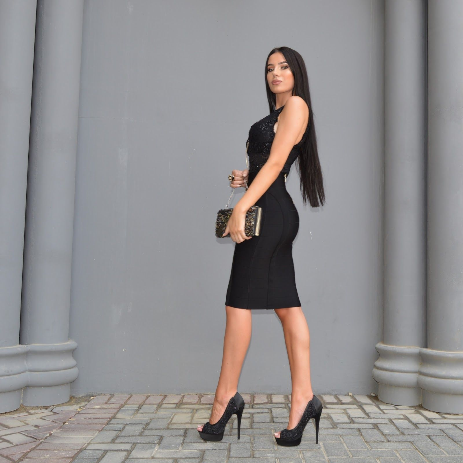 Laura Badura: Black Bebe: Black top, black skirt and black heels ...