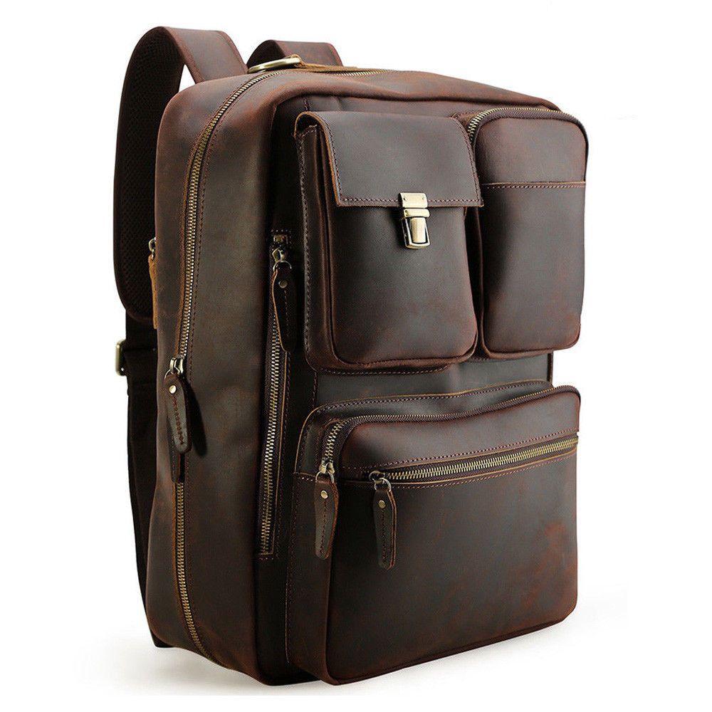 Leather Backpack Men Travel 16 Laptop Briefcase Satchel Daypack Shoulder Bag Leather Backpack For Men Leather Convertible Backpack Leather Briefcase Men