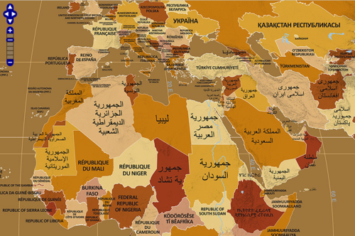 A map of the world with each country labeled in a language of its a map of the world with each country labeled in a language of its own gumiabroncs Gallery