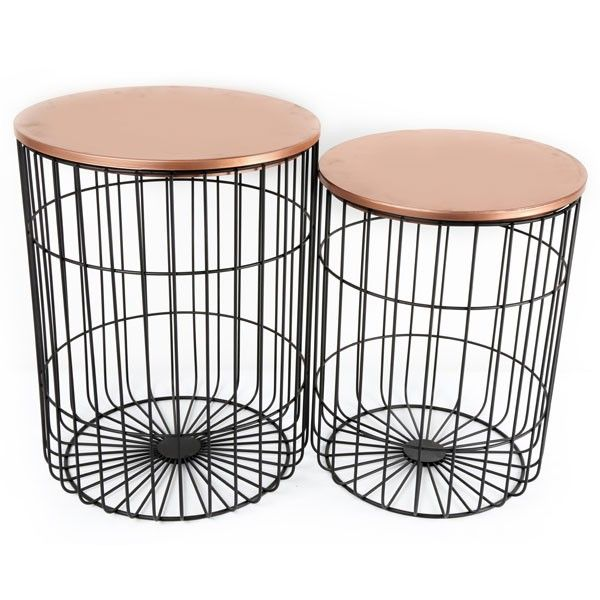 Boho Copper Table Set Wire Frame Side Tables Temerity Jones