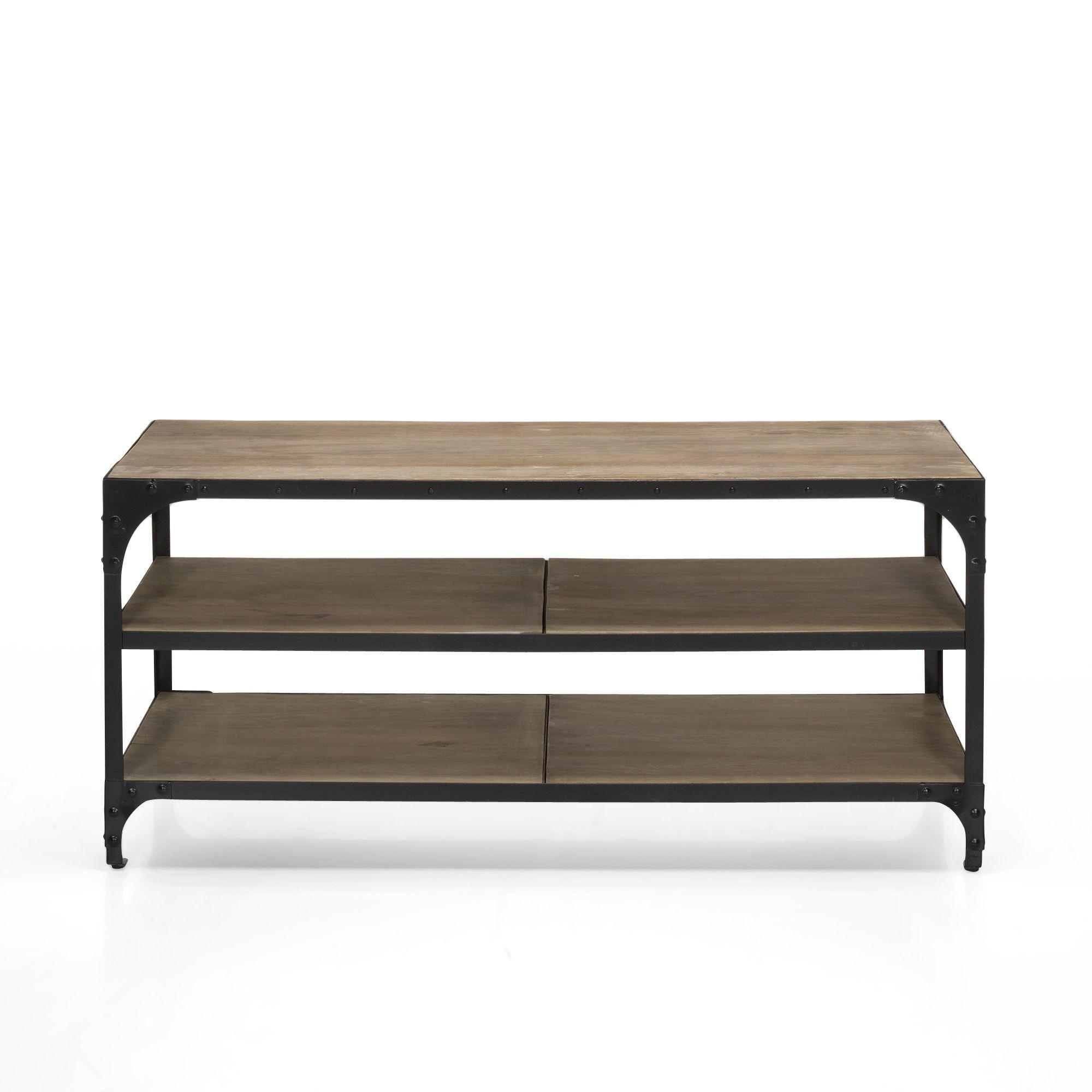 meuble tv style industriel mango et noir new ately les. Black Bedroom Furniture Sets. Home Design Ideas