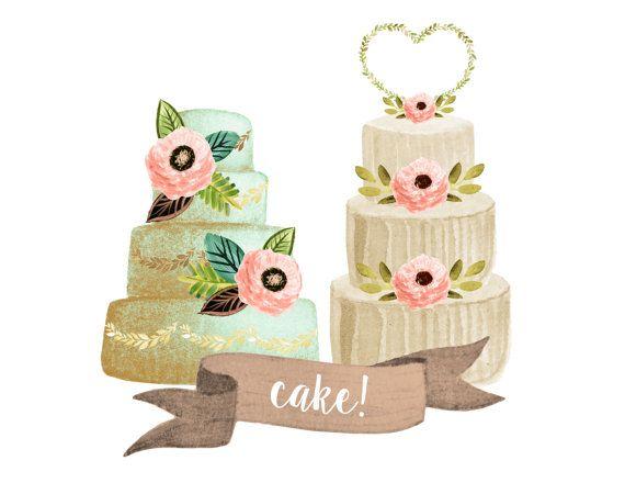 Cake clipart, wedding clipart, watercolor wedding clipart ...