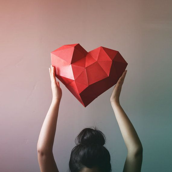3D Geometric Heart Paper craft, Low Poly Paper Craft | Low