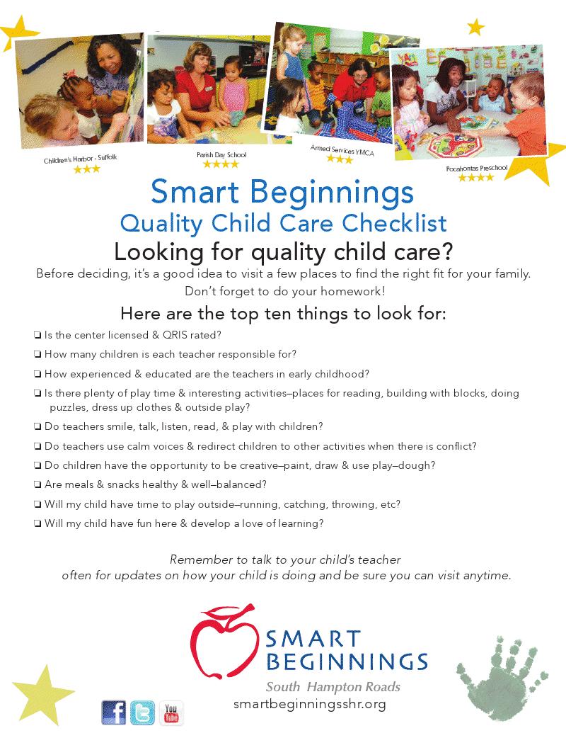 Quality Child Care Checklist Shr Childcare Children Education
