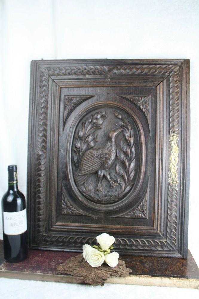 Antique Wood Carved Hunting Bird Door Cabinet Panel Black