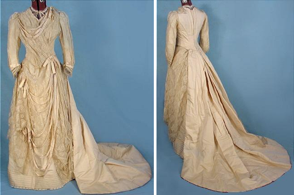 Dress 1888. See the structure of the bodice back and detail of the tapes
