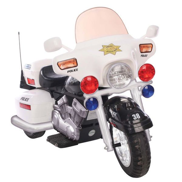 One Seater White 12v Police Patrol Motorcycle Ride On Home Outdoor