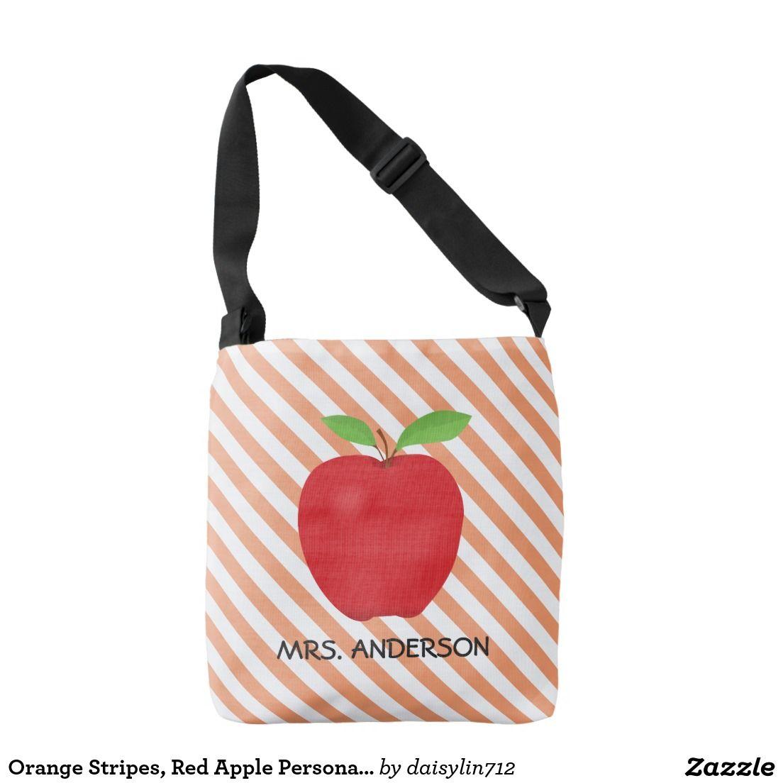 Orange Stripes, Red Apple Personalized Teacher totebag
