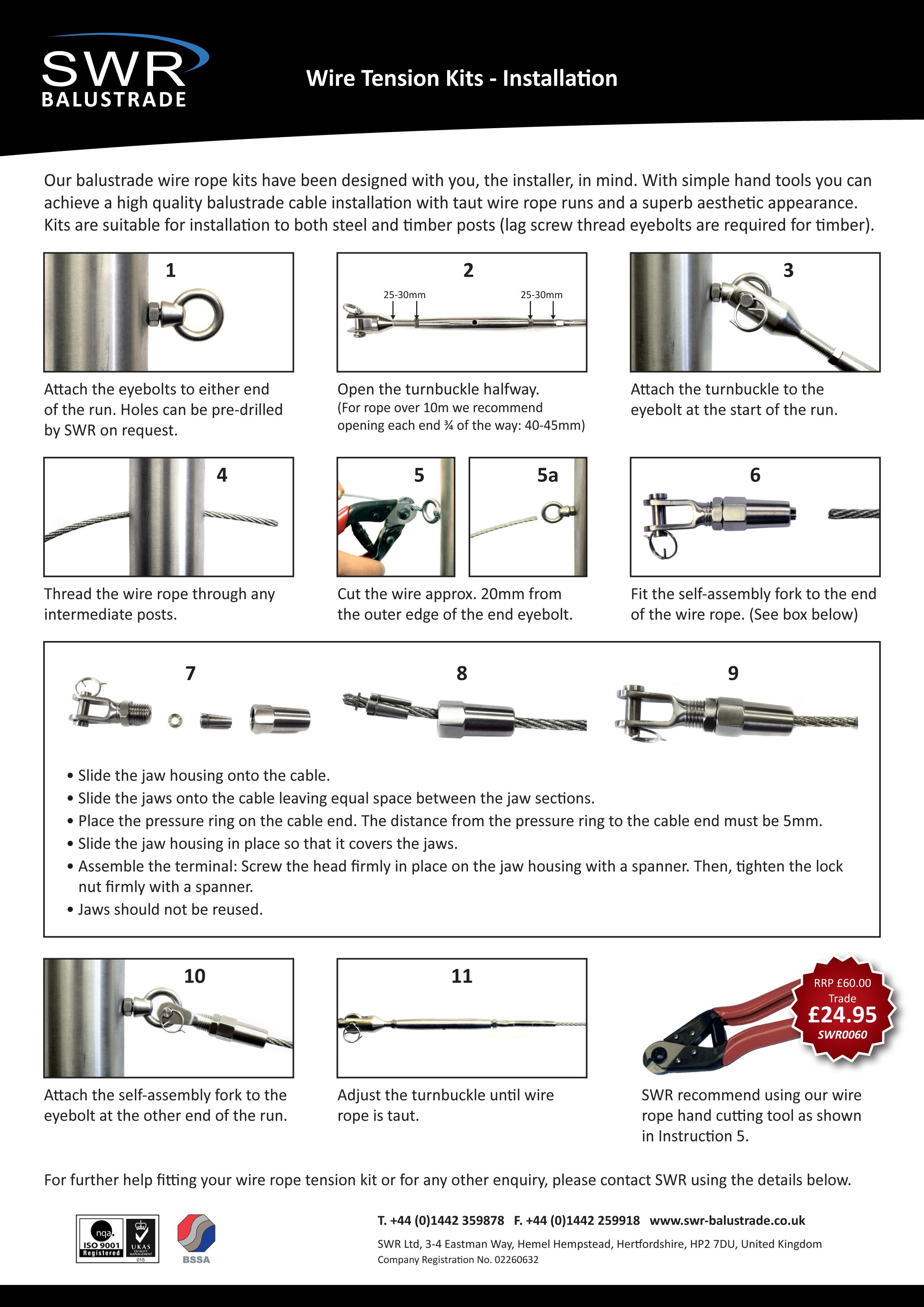 Wire Rope Tension Kit Instructions. For all enquires call us on ...