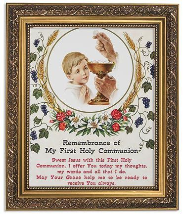 Copy of Boys First Communion Blessing Prayer In Ornate Gold Frame