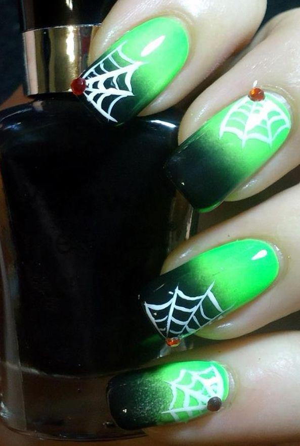 Halloween green | uñas lindas | Pinterest | Uñas de halloween ...