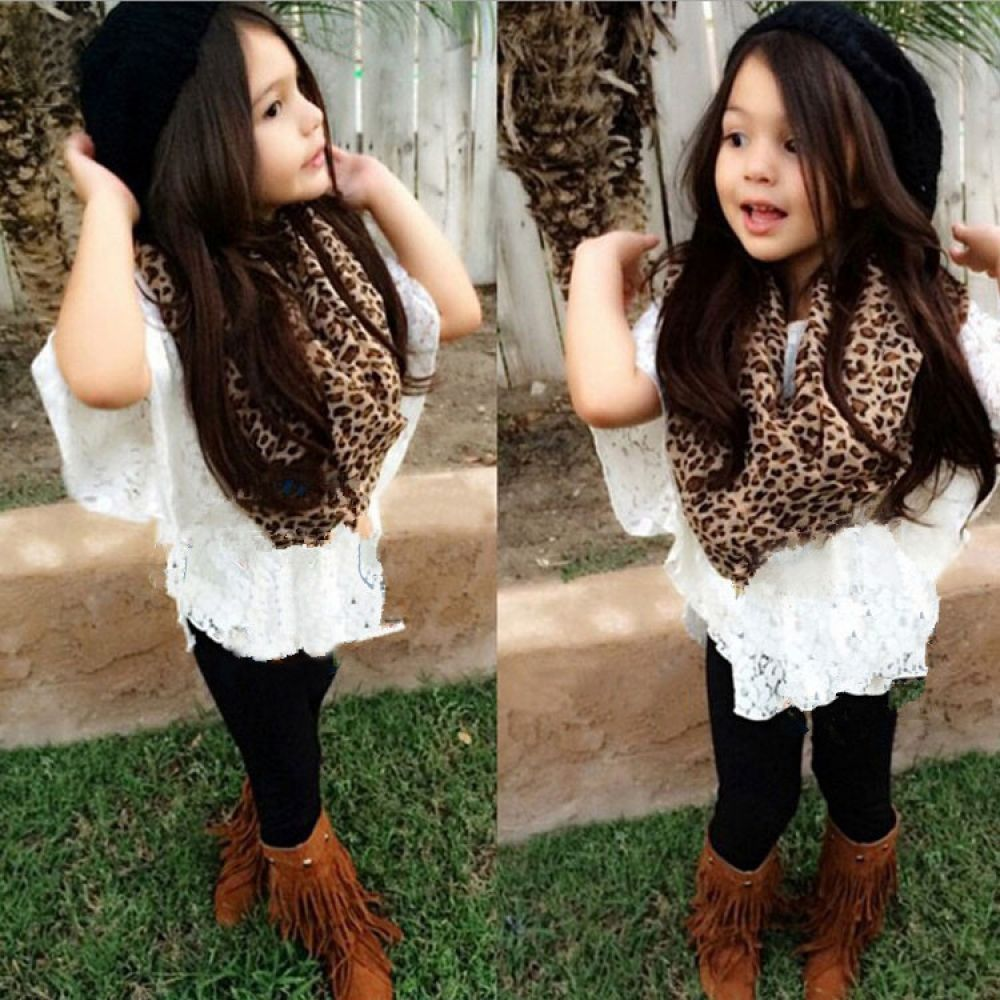 Toddler Girls Suit Vest Lace Bat Shirt Pant Leopard Scarf Clothes Outfit Set