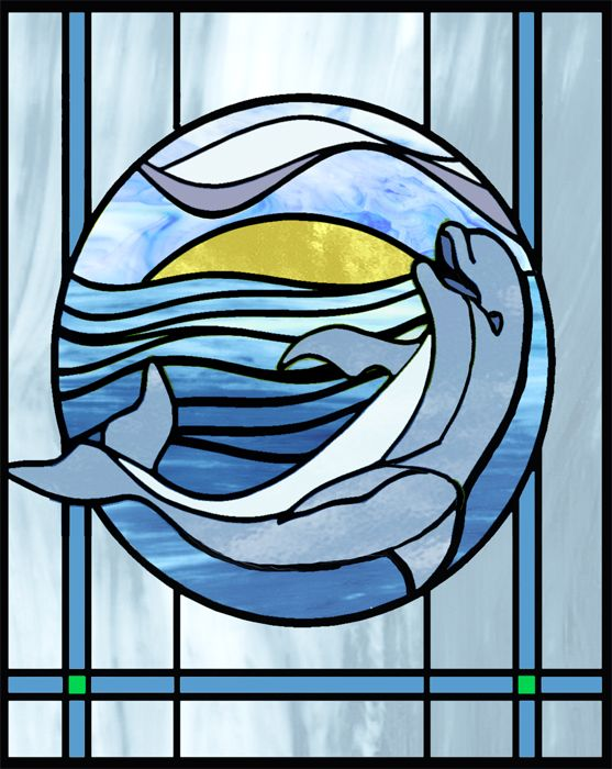 Dolphin stained glass (use background & circle pattern but put in sea turtle rather than dolphin)
