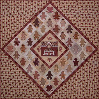 Ginger Folk Quilt Pattern http://www.victorianaquiltdesigns.com/VictorianaQuilters/PatternPage/GingerFolk/GingerFolk.htm #quilting #gingerbread