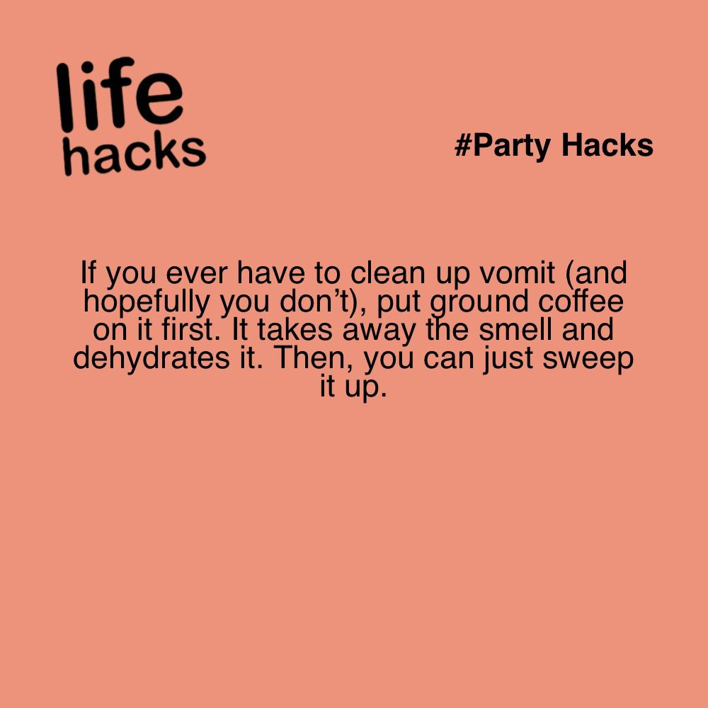If You Ever Have To Clean Up Vomit And Hopefully You Don T Put Ground Coffee On It First It Takes Away The Smel Life Hacks Cleaning Simple Life Hacks Hacks