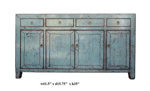 Rustic Light Blue Lacquer Oriental Sideboard Buffet Table