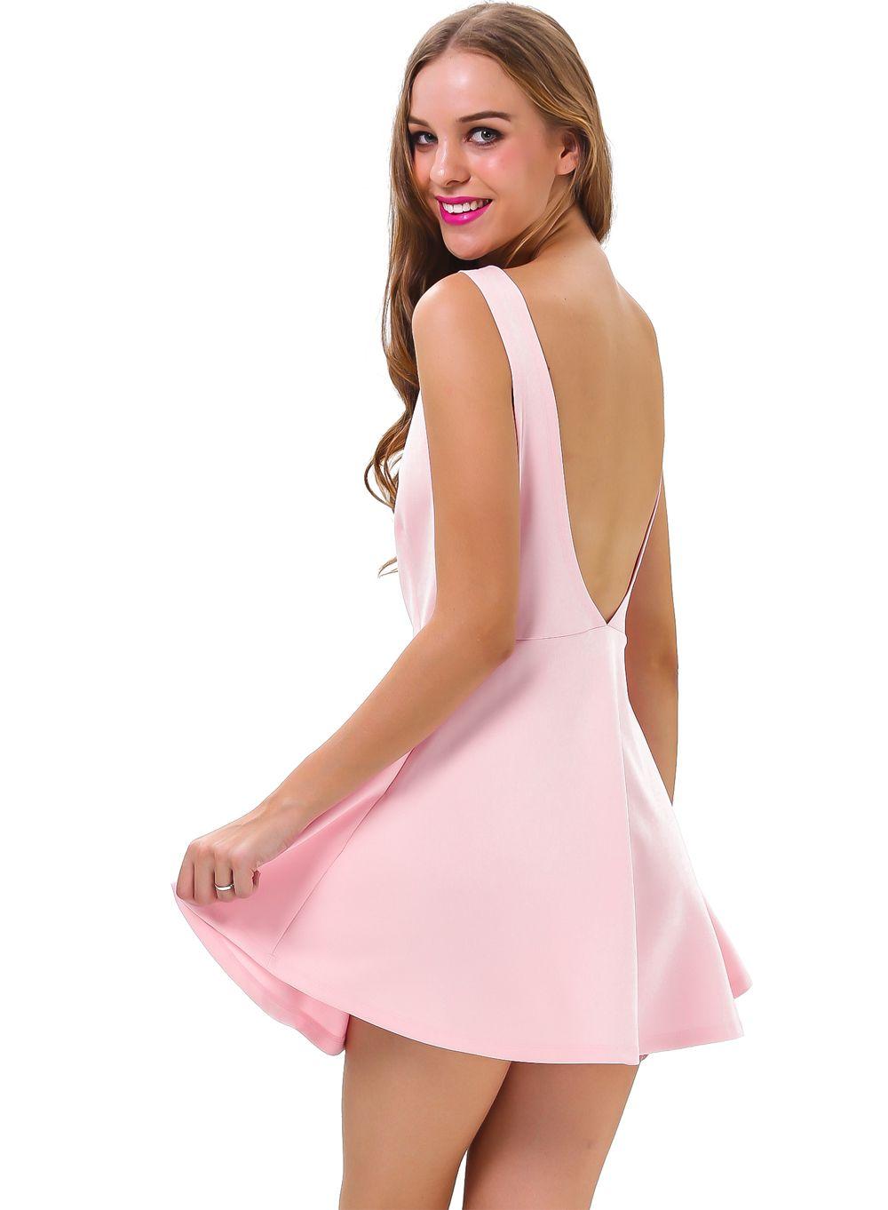 Pink sleeveless backless ruffle skater dress sheinside style