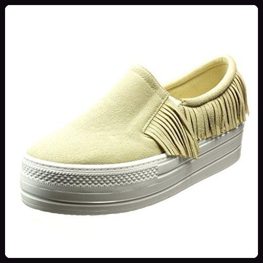 Angkorly Damen Schuhe Sneaker - Plateauschuhe - Slip-On - Fransen Keilabsatz High Heel 5 cm - Schwarz 633-1 T 39 uxx7G